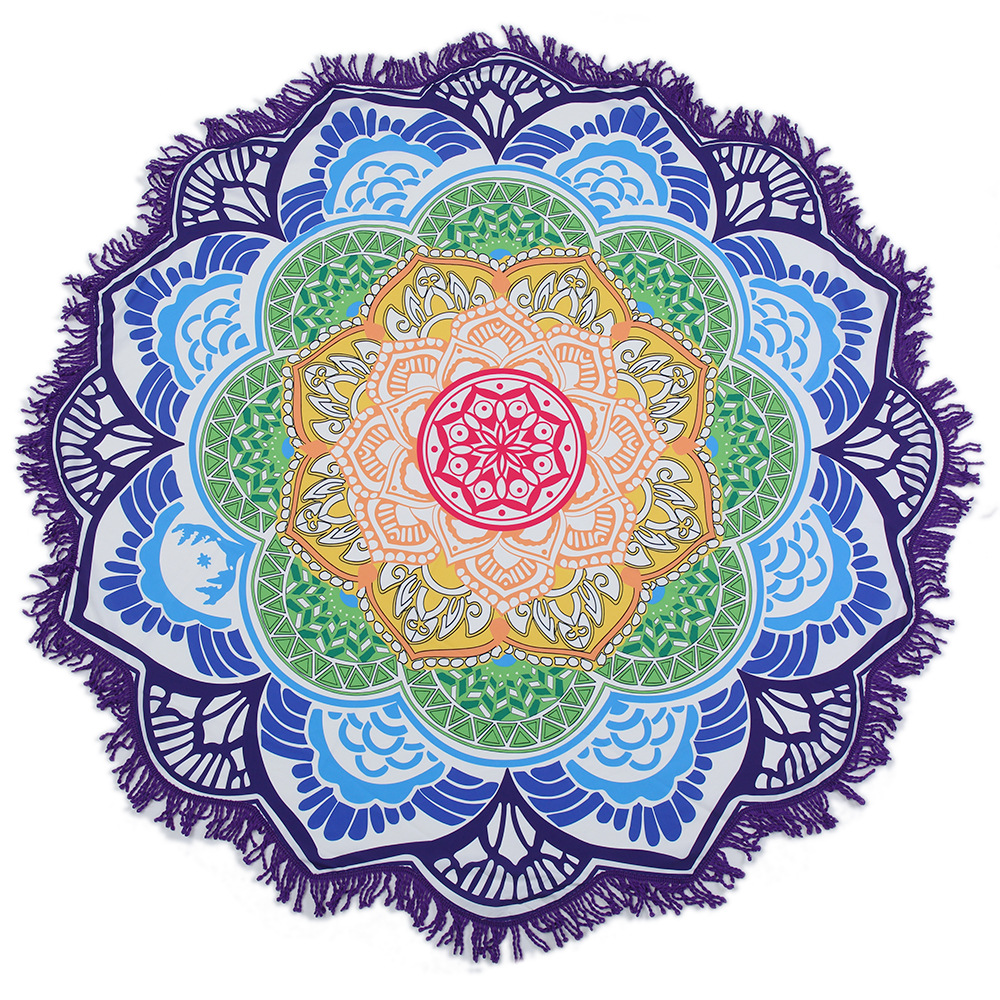 Print Mandala Rainbow Lotus Flower Tassels Beach Towel Blanket Table Cover Wall Hanging