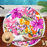 Print Butterflies Tropical Palm Leaves Stripes Round Tassels Cotton Beach Towel Blanket Table Cover Wall Hanging