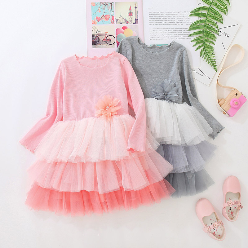 Toddler Kids Girls 3 Layers Ombre Tutu Long Sleeves Dress