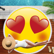 Print Emoji Face Expression Round Tassels Cotton Beach Towel Blanket Table Cover Wall Hanging