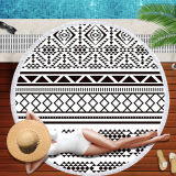 Print Geometric Figure Round Tassels Cotton Beach Towel Blanket Table Cover Wall Hanging