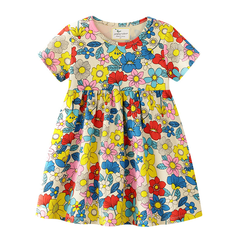Toddler Kids Girls Print Flowers Short Sleeves Cotton Summer Dress