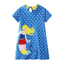 Toddler Kids Girls White Dots Embroider Rainbow Mermaid Cotton T-shirt Dress