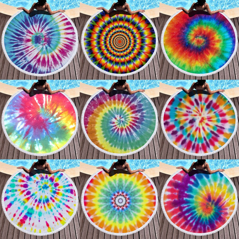 Print Dye Rainbow Round Tassels Cotton Beach Towel Blanket Table Cover Wall Hanging