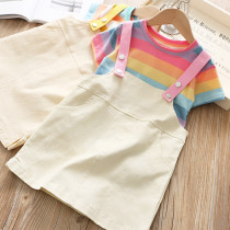 Kid Girl Rainbow T-shirt and White Denim Dress Two Pieces Sets