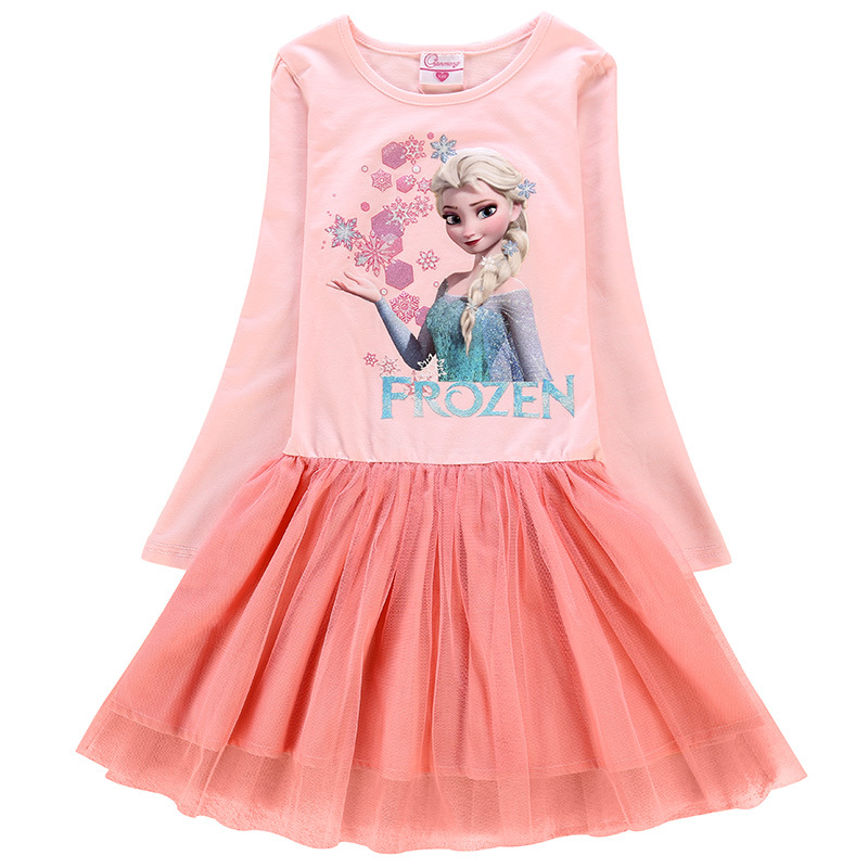 Toddler Girls Print Elsa Frozen Princess Snowflake Sequins Stars Long Sleeves Tutu Dress