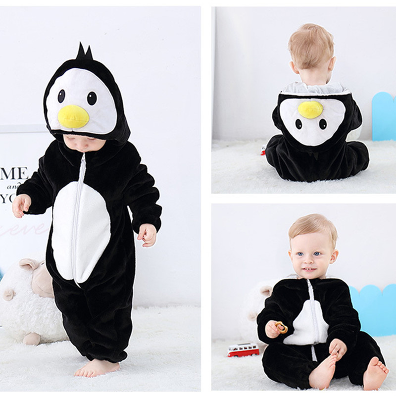 Black Penguin Baby Onesie Kigurumi Pajamas Kids Animal Costumes for Unisex Baby