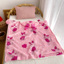 Pink Pig Woolen Fleece Blanket Hooded For Kids