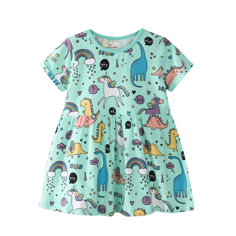 Toddler Kids Girls Print Dinosuars Unicorns Rainbow Short Sleeves Cotton Dress