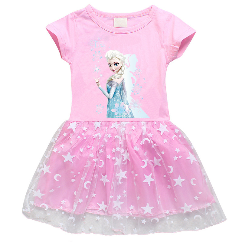 Toddler Girls Print Frozen Stars Moon Tutu A-line Dress