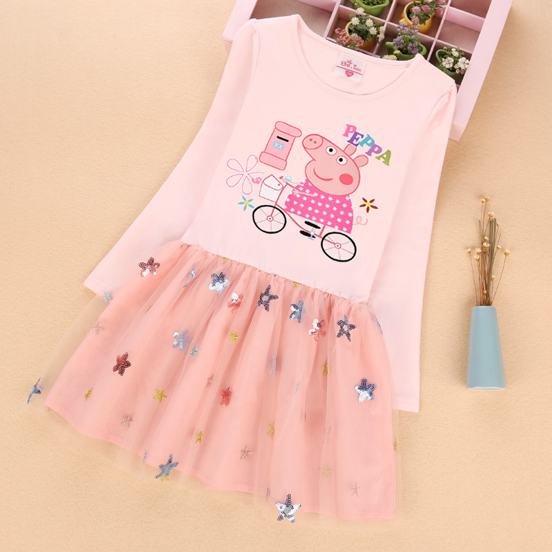 Toddler Girls Print Peppa Pig Sequins Stars Long Sleeves Tutu Dress