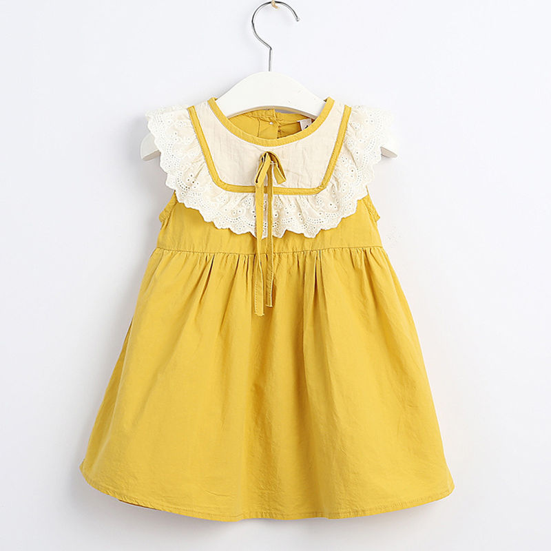 Toddler Girls Hollow Out Ruffles Sleeveless Summer Dress