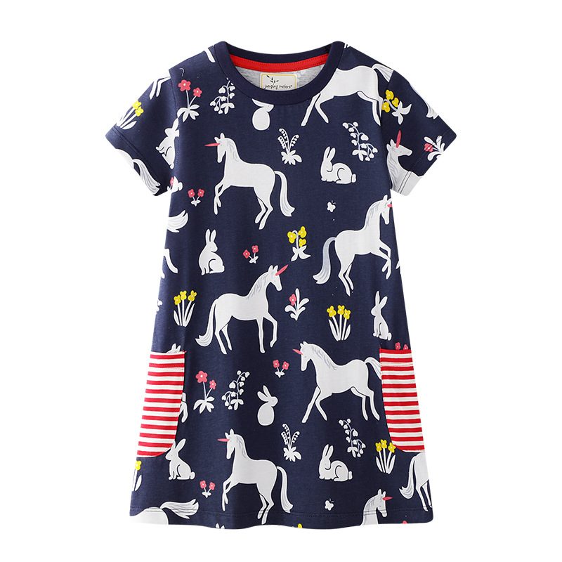 Toddler Kids Girls Print Flamingos Unicorns Flowers Stripes Pocket Short Sleeves Dress