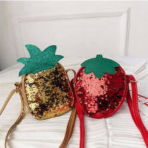 Sequins Strawberry Pineapple Crossbody Shoulder Bag for Toddlers Kids