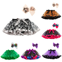 Toddler Kid Girl Prints Halloween Color Matching Tutu Skirt