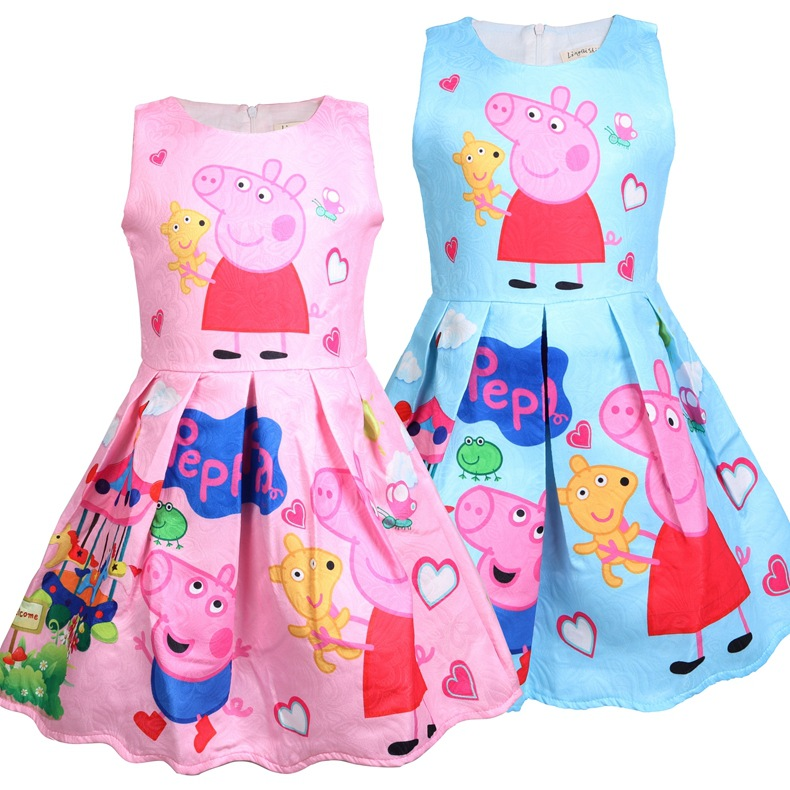 Toddler Girls Print Peppa Pig Hearts Sleeveless A-line Dress