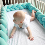 Infant Soft Pad Braided Crib Bumper Knot Pillow Cushion Cradle Decor for Baby