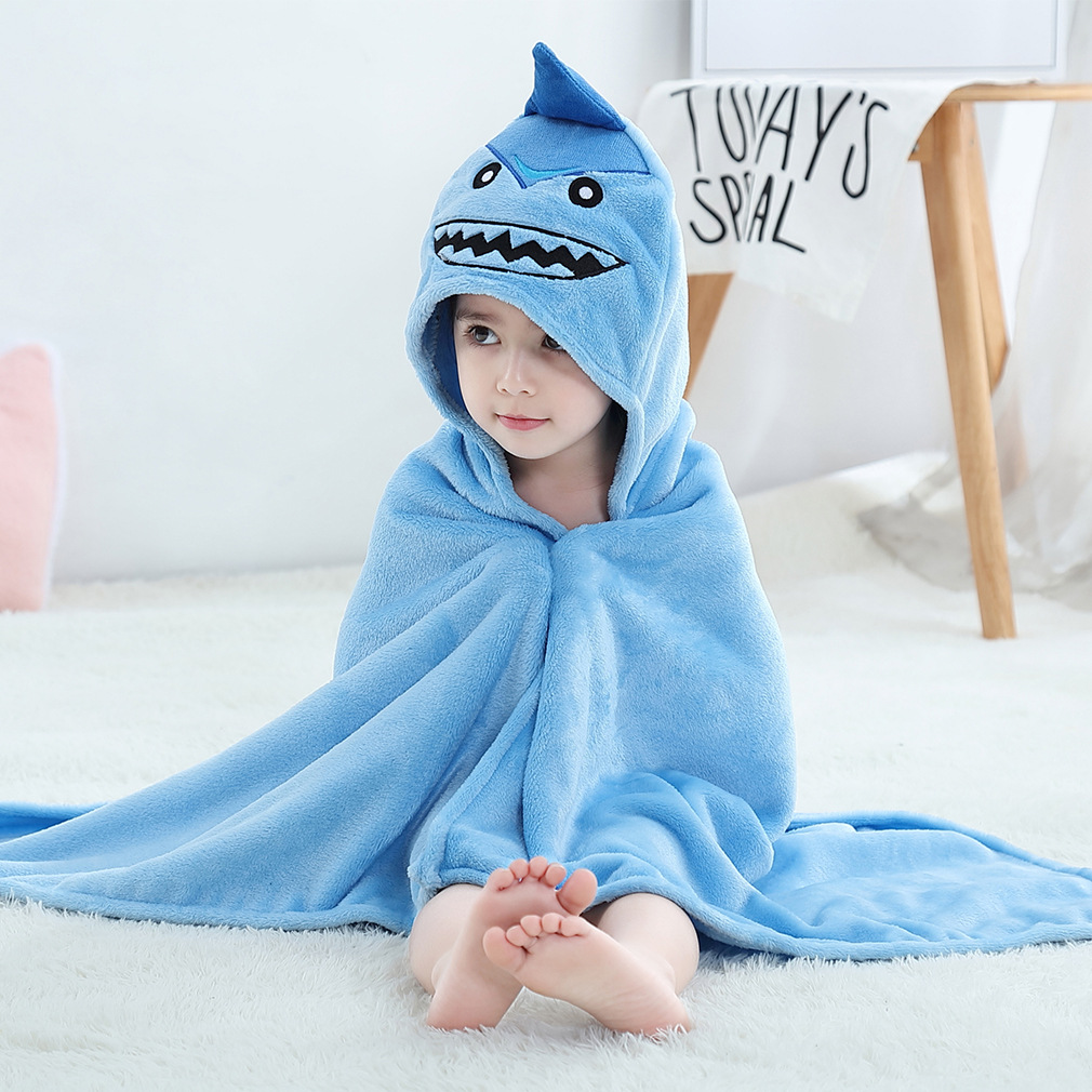 Kid Blue Shark Hooded Bathrobe Cape Bathrobe Cloak
