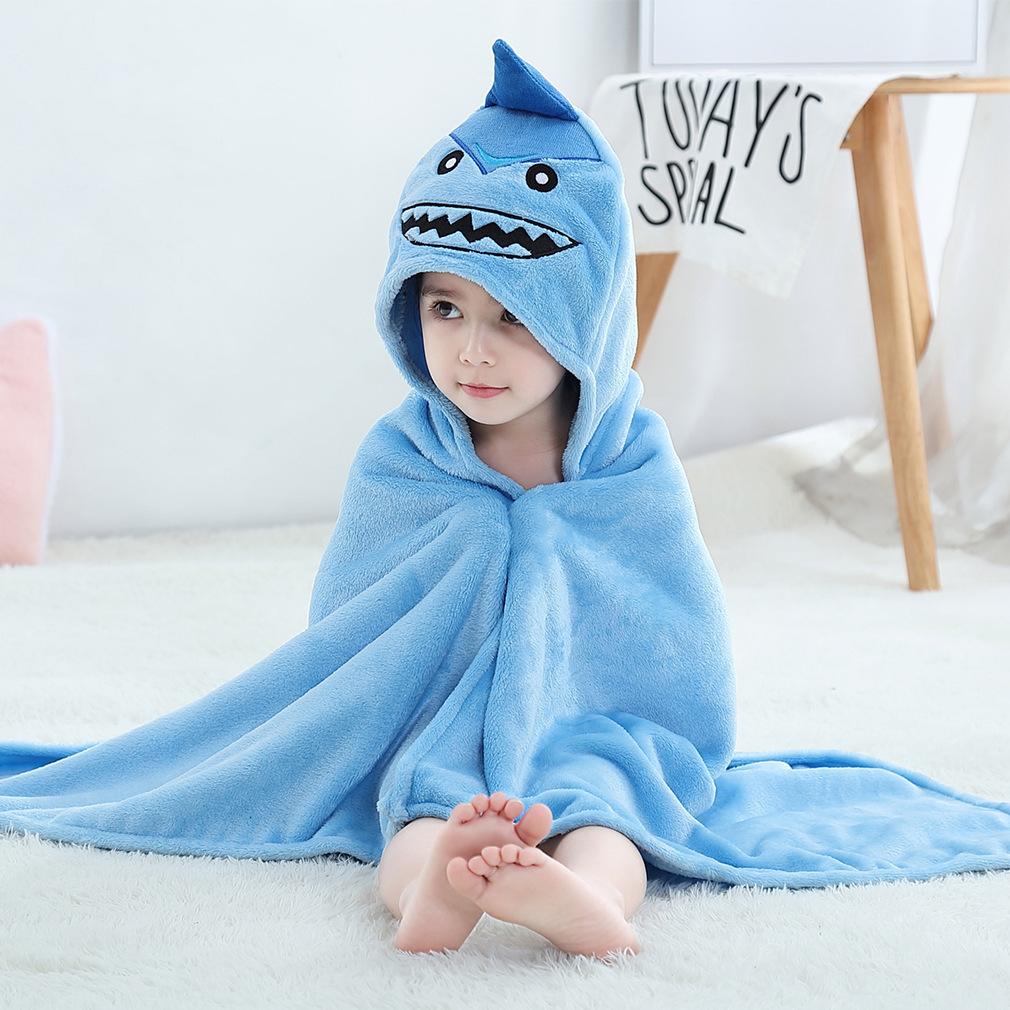 Kid Blue Shark Hooded Bathrobe Cape Bathrobe Cloak