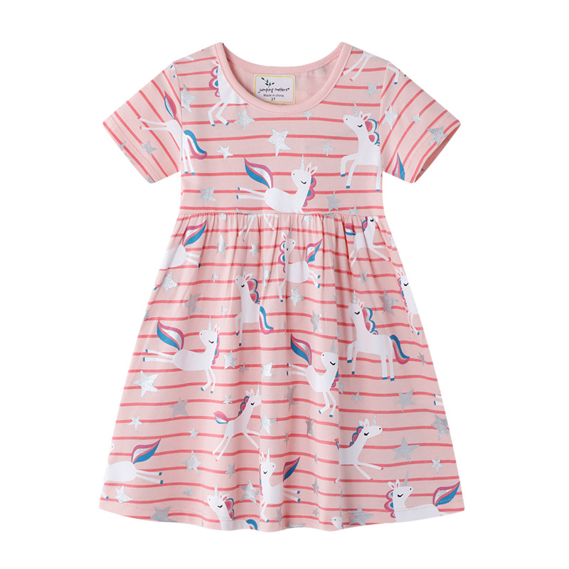 Toddler Kids Girls Print Unicorns Stripes Short Sleeves Cotton Dress