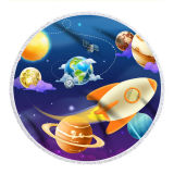 Print Starry Sky Universe Spacecraft Round Tassels Cotton Beach Towel Blanket Table Cover Wall Hanging