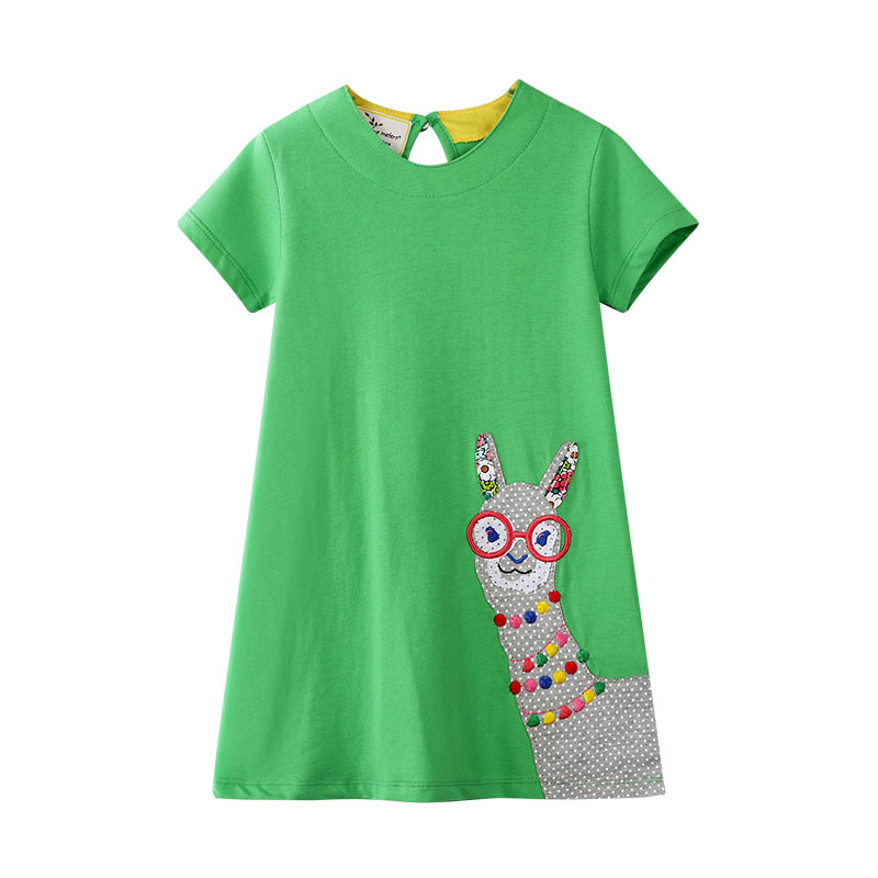Toddler Kids Girls Print Pompom Eembroidery Llama Short Sleeves Casual Cotton Dress