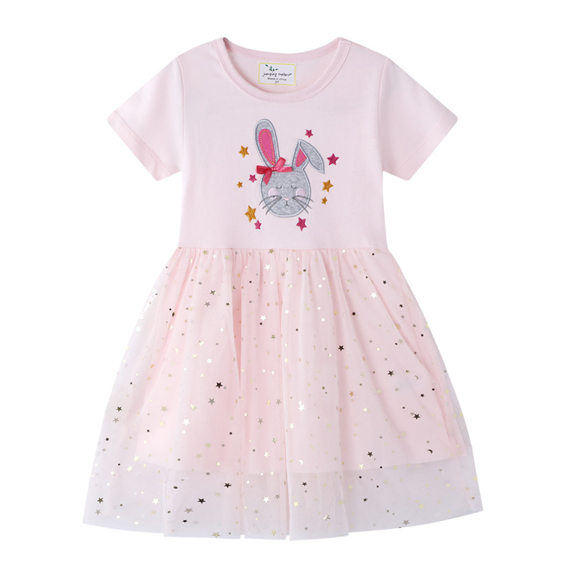 Toddler Kids Girls Eembroidery Rabbit Sequins Gold Stars Tutu Short Sleeves Dress