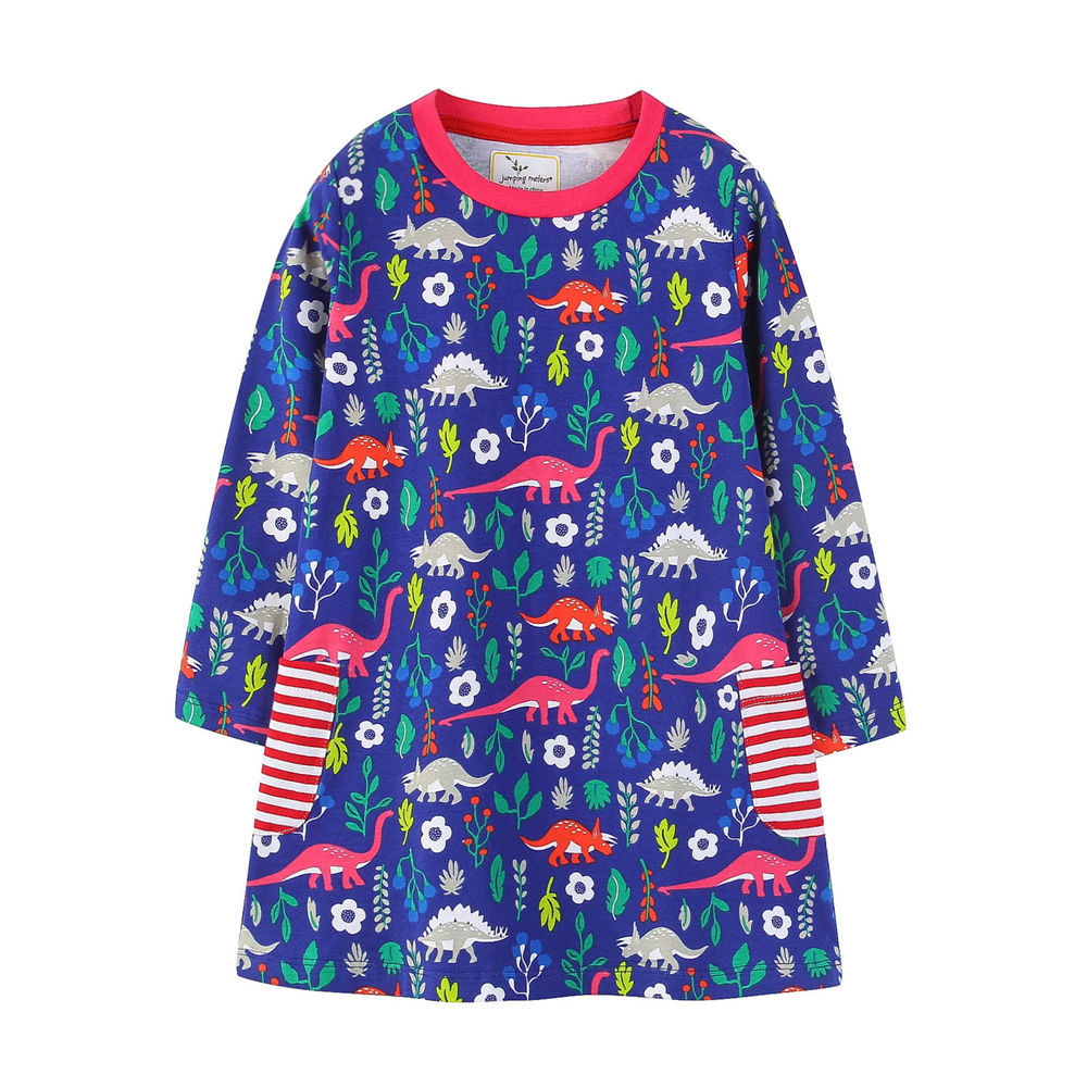 Toddler Kids Girls Print Dinosaurs Unicorns Horse Stripes Pocket Long Sleeves Dress