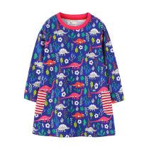 Toddler Kids Girls Print Dinosaurs Unicorns Horse Stripes Pocket Long Sleeves Dress