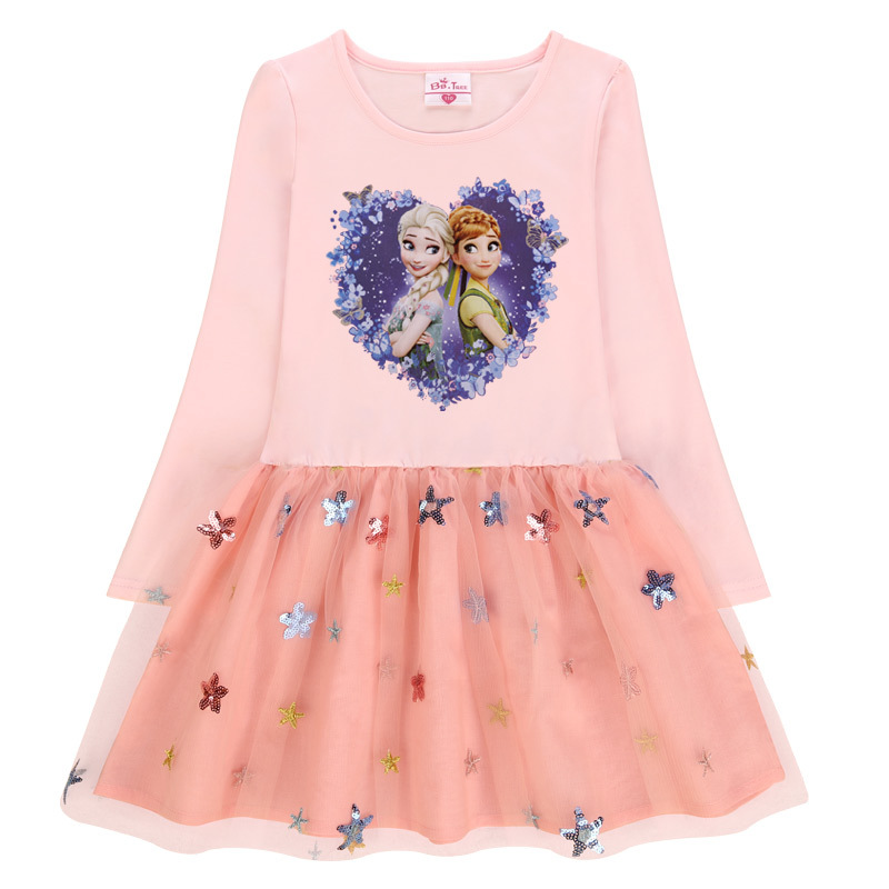 Toddler Girls Print Frozen Elsa Anna Princess Sequins Stars Long Sleeves Tutu Dress