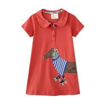Toddler Kids Girls Print Dog Cotton T-shirt Dress