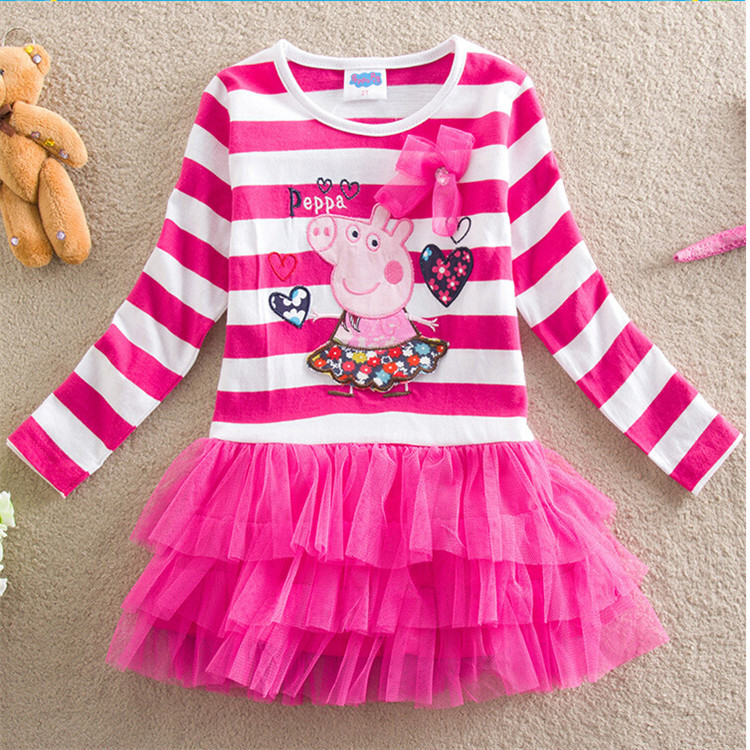 Toddler Girls Stripes Peppa Pig Layers Tutu Dress