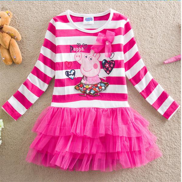 Toddler Girls Stripes Peppa Pig Layers Tutu Dress