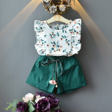 Kid Girl Flower Ruffles Sleeves Blouse and Green Shorts Two Pieces Sets