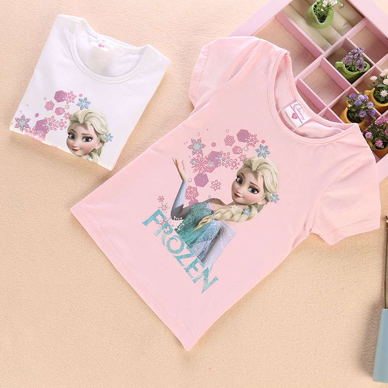 Toddler Kids Girls Print Frozen Elsa Princess Snowflake T-shirt Tee Tops