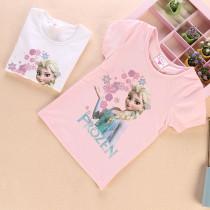 Toddler Kids Girls Print Frozen Elsa Princess Snowflake T-shirt Tee Tops