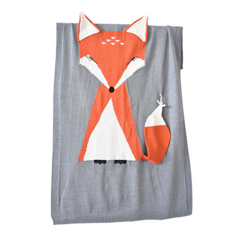 Print Knit Fox Sleeping Blanket