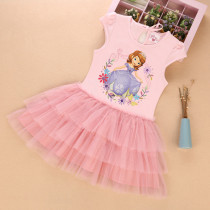 Kid Girls Print Sophia Princess Short Sleeves Tutu Dress