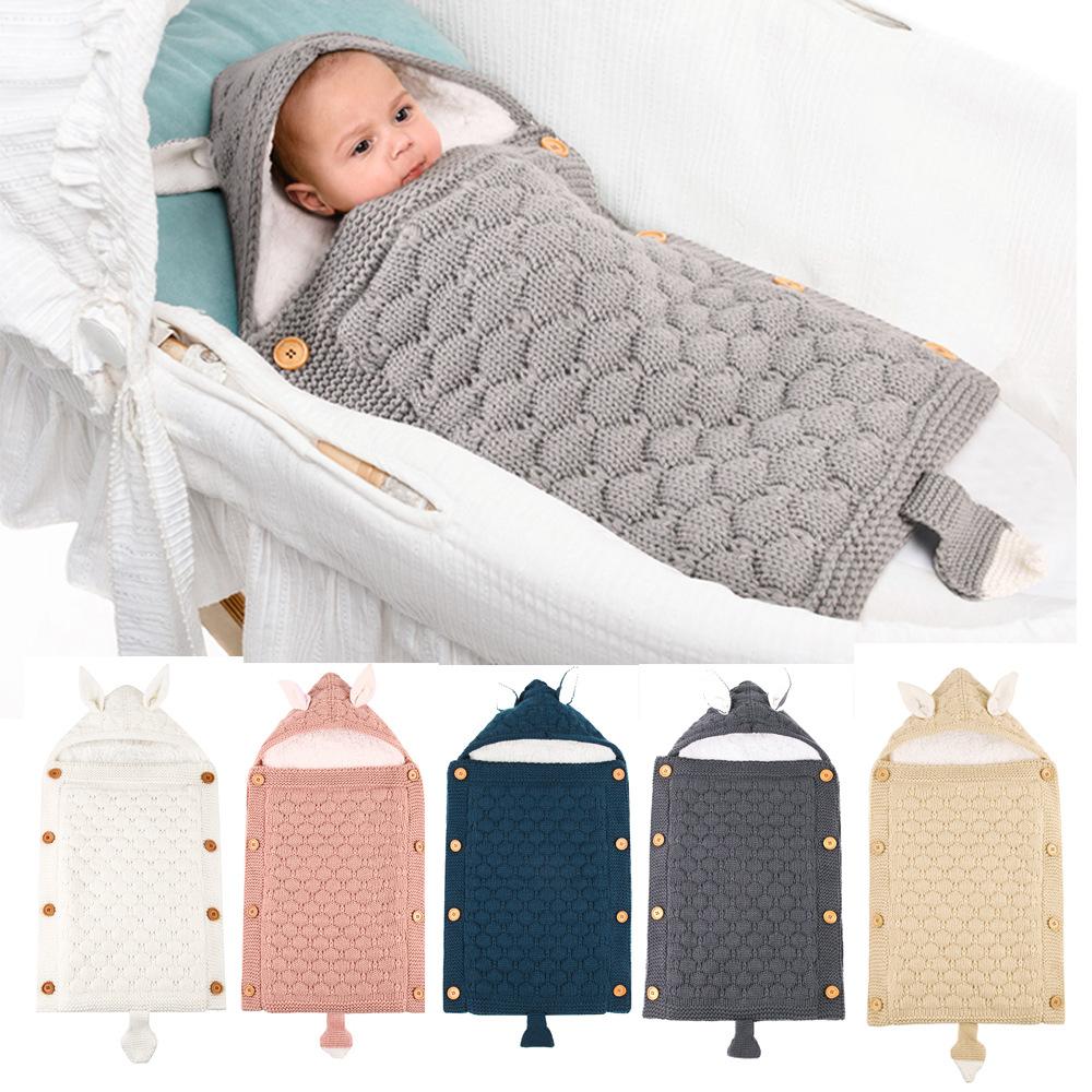 Newborn Baby Wrap Swaddle Knit Blanket Thick Fleece Cute Fox Sleeping Bag