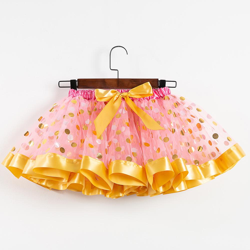 Toddler Kid Girl Color Matching Gold Dots Tutu Skirt