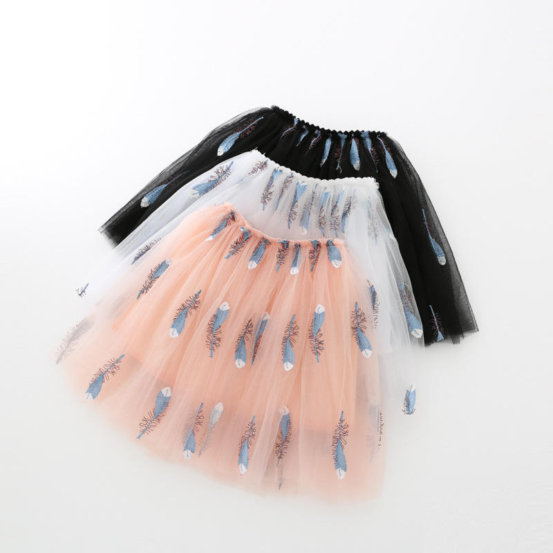 Kid Girl Embroider Sequins Feathers Tutu Skirt
