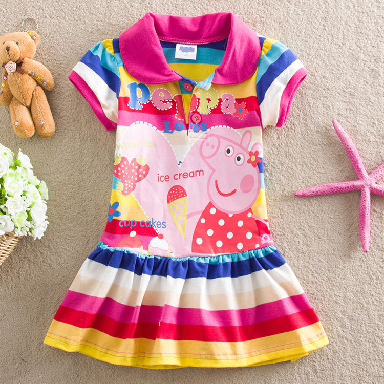 Toddler Girls Rainbow Stripes Print Peppa Pig T-shirt Dress