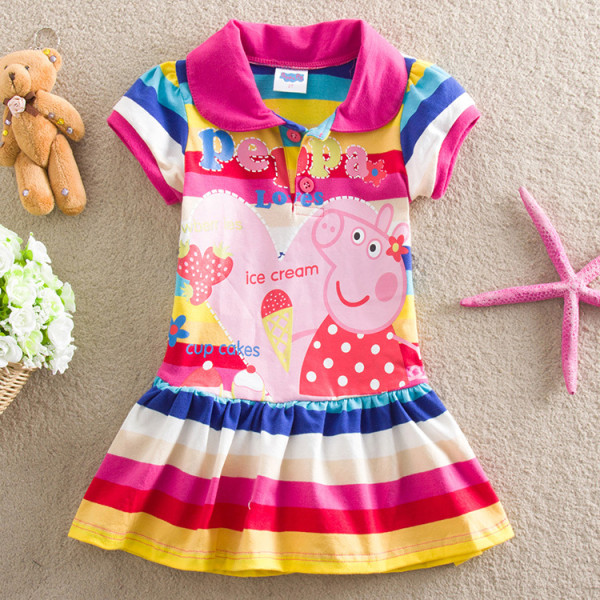 Toddler Girls Rainbow Stripes Print Peppa Pig T-shirt Dress