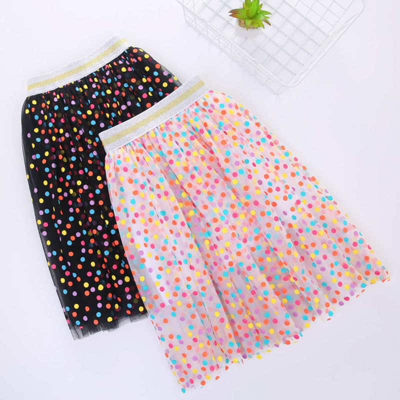 Kid Girl Rainbow Polka Dots Tutu Skirt