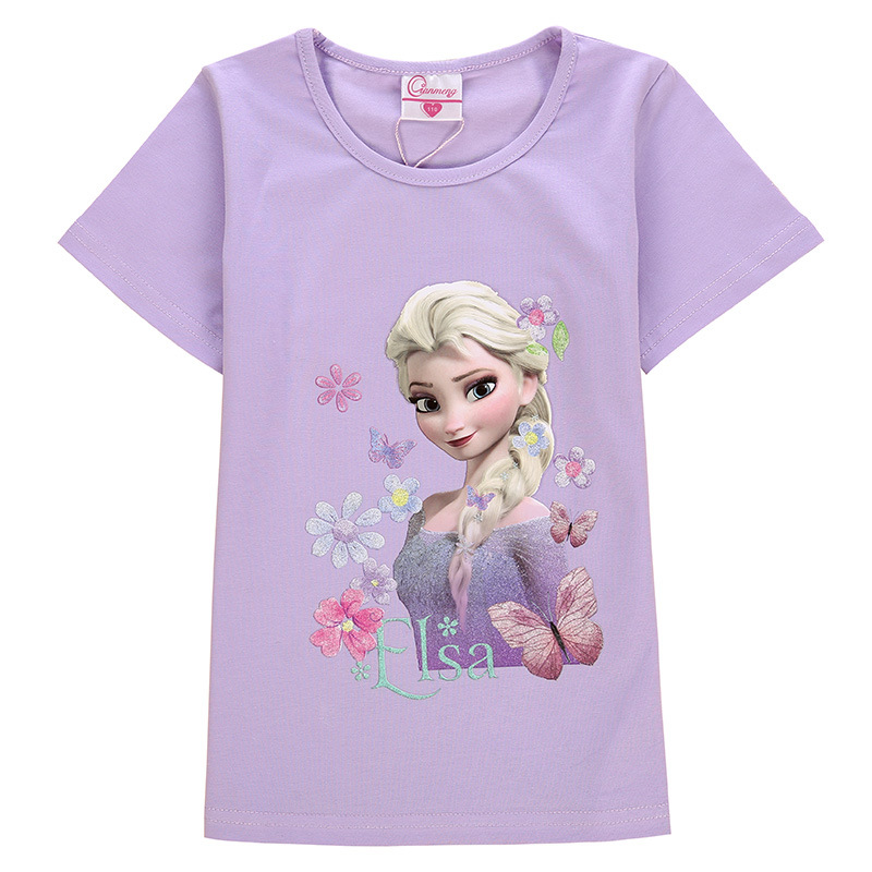 Toddler Kids Girls Print Frozen Elsa Princess T-shirt Tee Tops