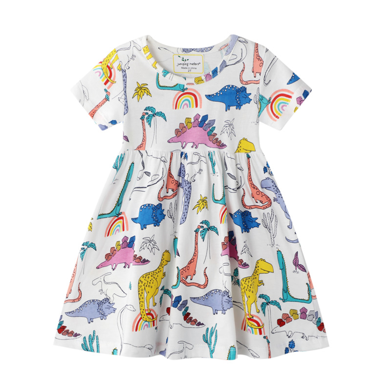 Toddler Kids Girls Print Dinosuars Rainbow Short Sleeves Cotton Dress
