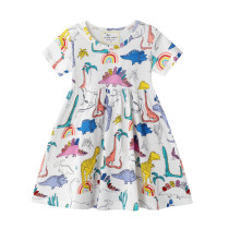Toddler Kids Girls Print Dinosuars Rainbow Short Sleeves Cotton Dress