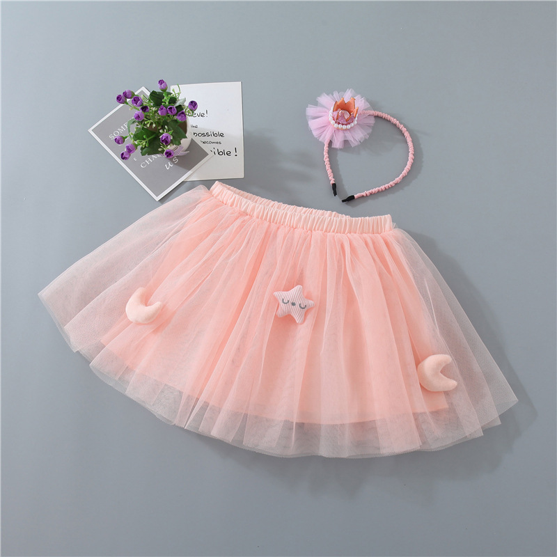 Toddler Kid Girl Star Moon Pink Tutu Skirt