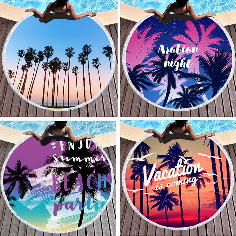 Print Beach Coconut Palm Round Tassels Cotton Beach Towel Blanket Table Cover Wall Hanging