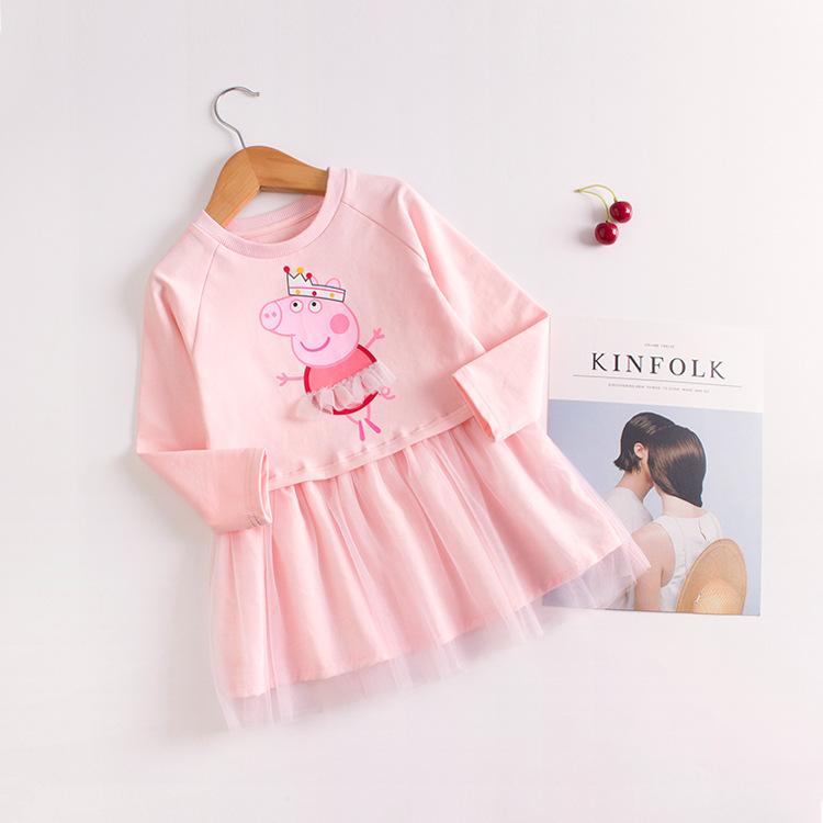 Toddler Girls Print Peppa Pig Long Sleeves Tutu Dress
